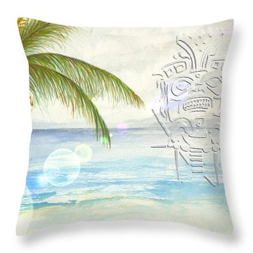 Throw Pillow featuring the digital art Beach Etching by Darren Cannell