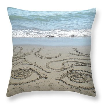 Beach Eyes Throw Pillow by Kim Prowse