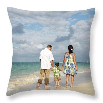 Beach Family Throw Pillow by Brandon Tabiolo - Printscapes