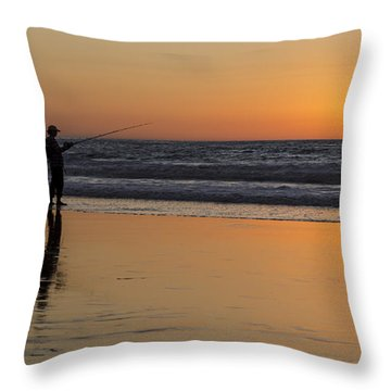 Beach Fishing At Sunset Throw Pillow by Ed Clark
