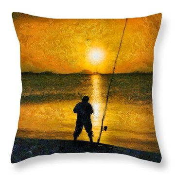 Throw Pillow featuring the photograph Beach Fishing  by Scott Carruthers