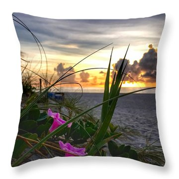 Beach Flowers Throw Pillow