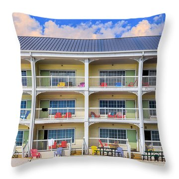 Beach Front Hotel Throw Pillow