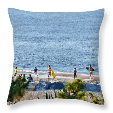 Beach Fun At Cape Henlopen Throw Pillow