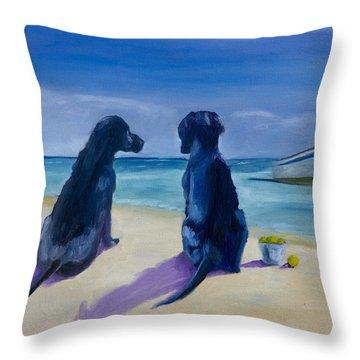 Beach Girls Throw Pillow by Roger Wedegis