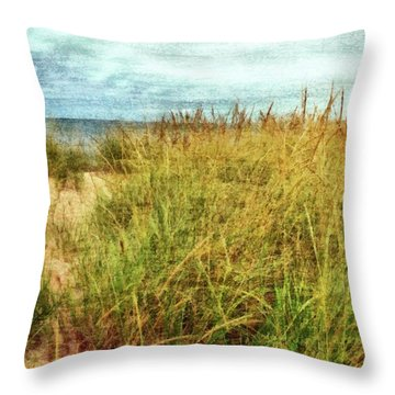 Throw Pillow featuring the digital art Beach Grass Path - Painterly by Michelle Calkins
