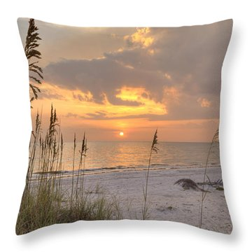 Beach Grass Sunset Throw Pillow
