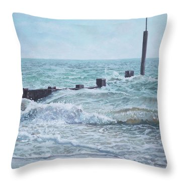 Beach Groin With Autumn Waves Throw Pillow