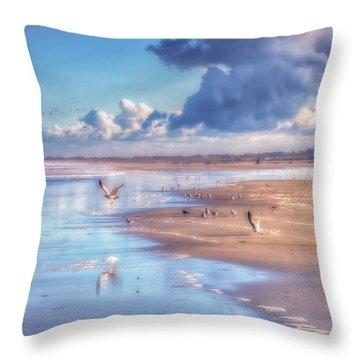 Beach Gulls Throw Pillow
