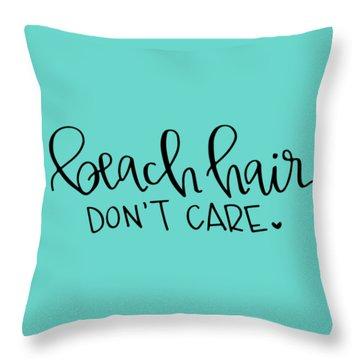 Beach Hair Throw Pillow by Elizabeth Taylor