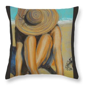 Beach Hat Throw Pillow
