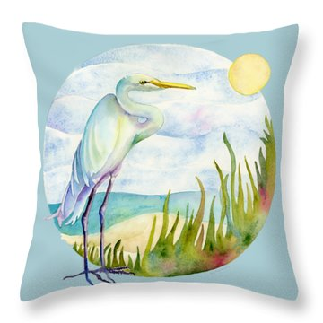 Beach Heron Throw Pillow