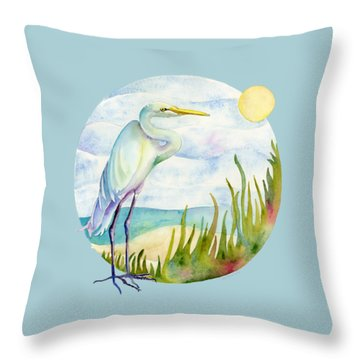 Egret Throw Pillows
