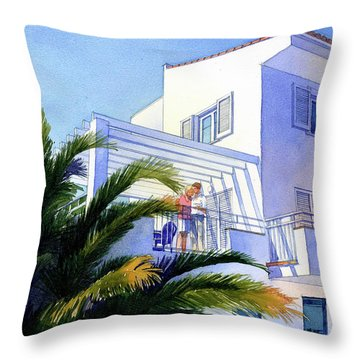 Beach House At Figueres Throw Pillow