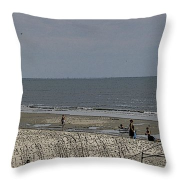 Beach House Backyard Throw Pillow