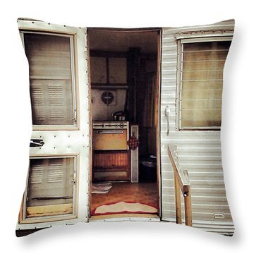 Throw Pillow featuring the photograph Camping Trailer by Susan Parish