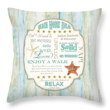 Beach House Rules - Refreshing Shore Typography Throw Pillow by Audrey Jeanne Roberts