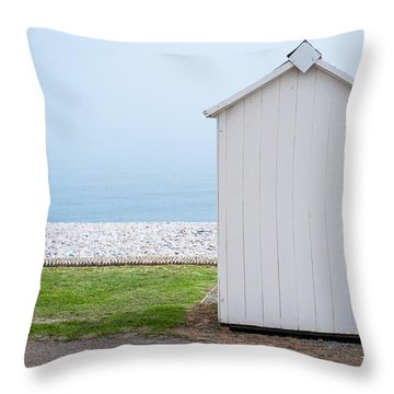 Beach Hut By The Sea Throw Pillow