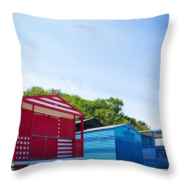 Beach Huts 1 Throw Pillow