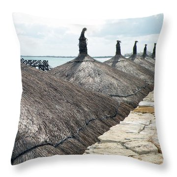 Throw Pillow featuring the photograph Beach Huts At The Grand Mayan by Dianne Levy