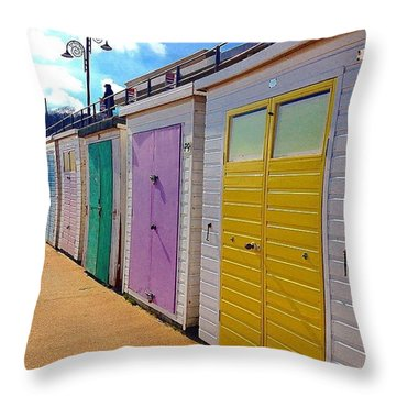 Pastel Beach Huts Throw Pillow