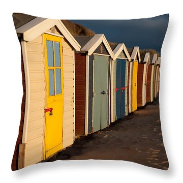 Beach Huts II Throw Pillow