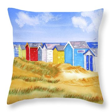 Throw Pillow featuring the painting Beach Huts by Rich Stedman