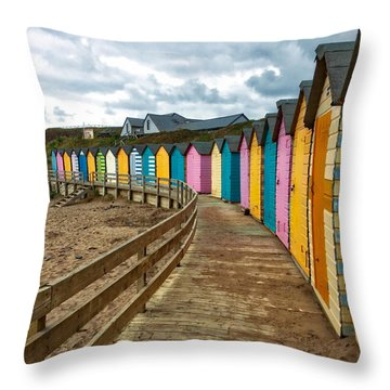 Beach Huts Throw Pillow by RKAB Works