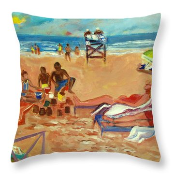 Beach In August Throw Pillow