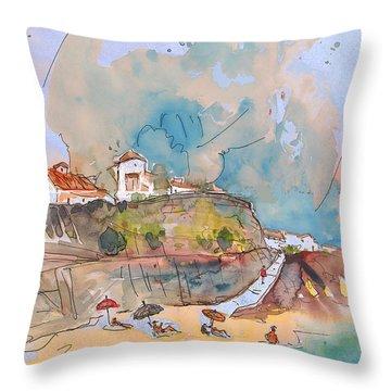 Beach In Ericeira In Portugal Throw Pillow by Miki De Goodaboom