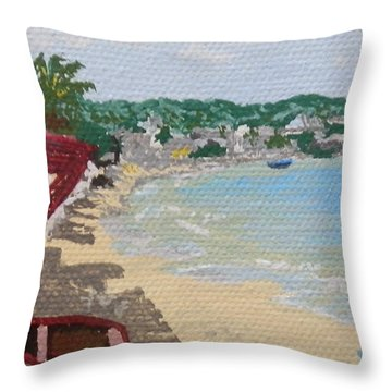Beach In Grand Case Throw Pillow