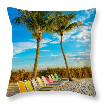 Beach Lounges Under Palms Throw Pillow