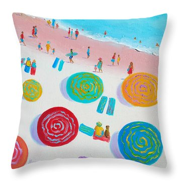 Beach Painting - A Walk In The Sun Throw Pillow