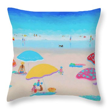Beach Painting - Ah Summer Days Throw Pillow