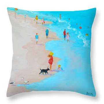 Beach Painting - Beach Day - By Jan Matson Throw Pillow