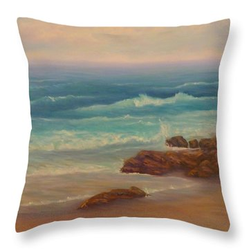 Beach Painting Beach Rocks  Throw Pillow