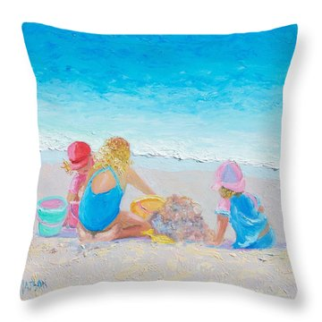 Beach Painting - Building Sandcastles Throw Pillow
