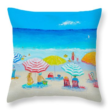 Beach Painting - Catching The Breeze Throw Pillow