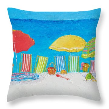 Beach Painting - Deck Chairs Throw Pillow by Jan Matson