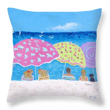 Beach Painting - Lazy Summer Days Throw Pillow