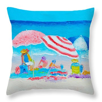 Beach Painting - Summer Beach Vacation Throw Pillow