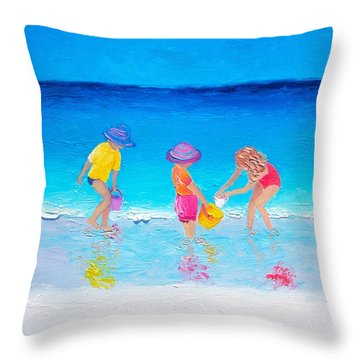 Beach Painting - Water Play  Throw Pillow by Jan Matson