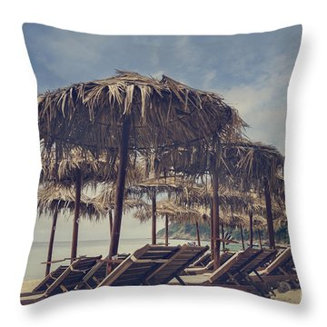 Beach Parasols Throw Pillow