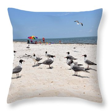 Throw Pillow featuring the photograph Beach Party by Jan Amiss Photography