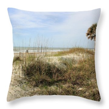 Beach Path Throw Pillow by Angela Rath