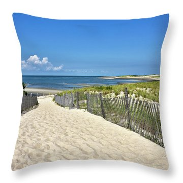 Throw Pillow featuring the photograph Beach Path At Cape Henlopen State Park - The Point - Delaware by Brendan Reals
