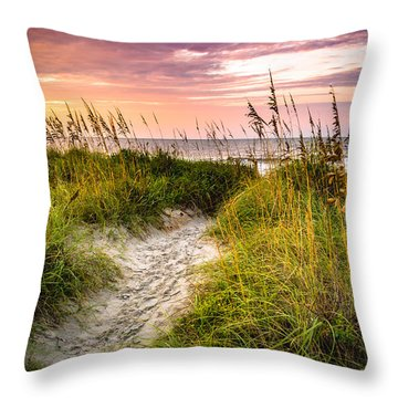 Beach Path Sunrise Throw Pillow