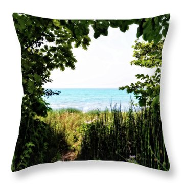 Throw Pillow featuring the photograph Beach Path With Snake Grass by Michelle Calkins