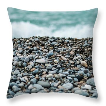 Throw Pillow featuring the photograph Beach Pebbles by MGL Meiklejohn Graphics Licensing
