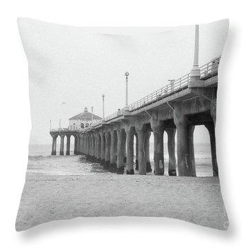 Beach Pier Film Frame Throw Pillow